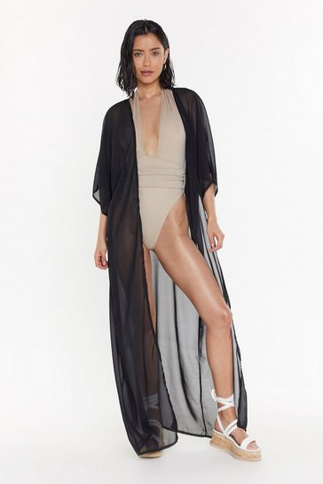 Womens Black MS Sheer Maxi Beach Kimono