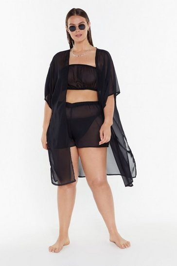 Womens Black Life's a Beach Plus 3-pc Cover-Up Set