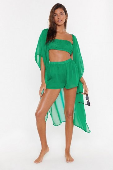 Womens Green Life's A Beach 3-pc Cover-Up Set