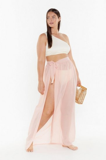 Womens Nude MS Tie Side Chiffon Maxi Beach Skirt