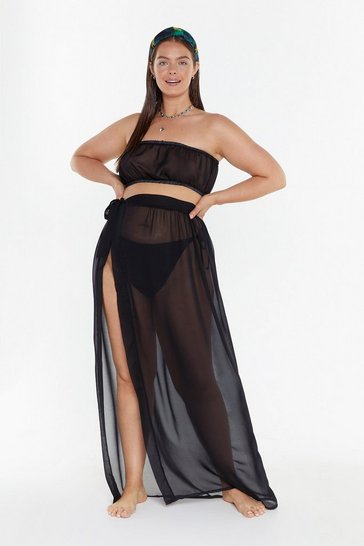 Womens Black MS Sheer Bandeau & Tie Side Skirt Co Ord
