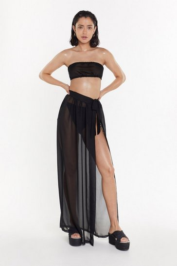 Black Tie for the Beach Crop Top and Skirt Cover-Up Set