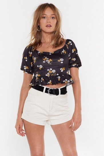 Womens Black Puff Sleeve Ditsy Floral Crop Top