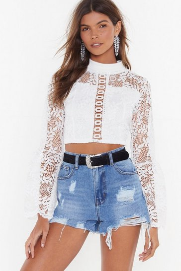 Womens White Crochet Trim Lace Flare Top