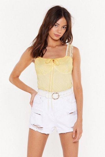 Womens Lemon Spot Mesh Ruffle Sleeve Body