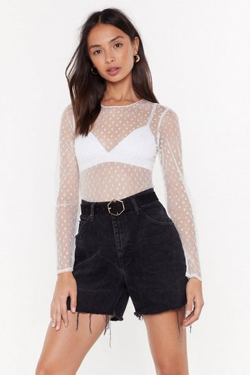 Womens White Hearts Off to You Mesh Top