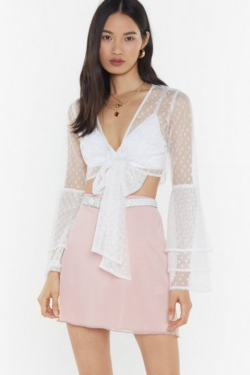 Womens White Heart Mesh Frill Tie Front Top