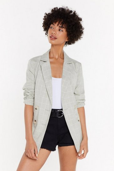 Womens Sage What A Great Square Check Blazer