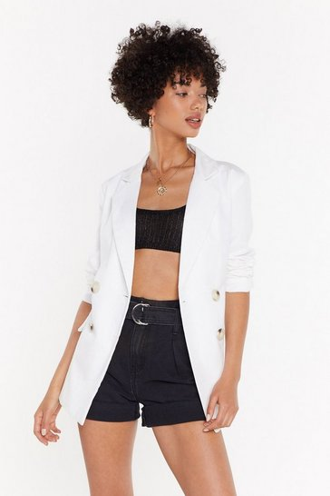Womens White What A Great Square Check Blazer
