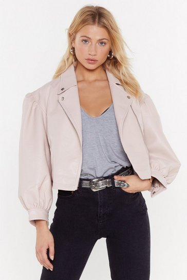 Womens Blush Puff Balloon Sleeve Biker Jackets