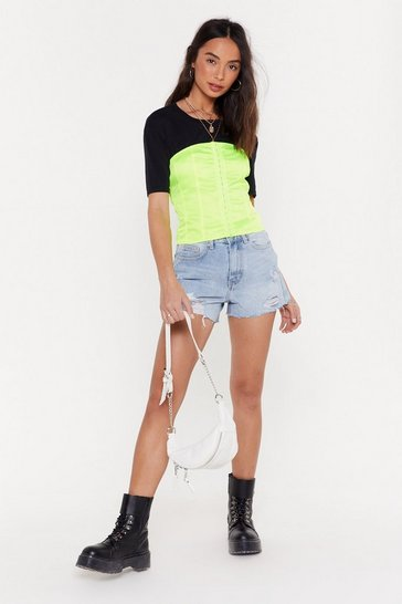 Womens Lime Of Corset is Satin Lace-Up Top