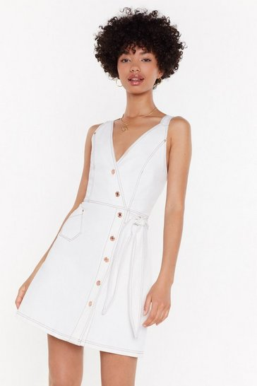 Womens White That's a Wrap Button Denim Dress