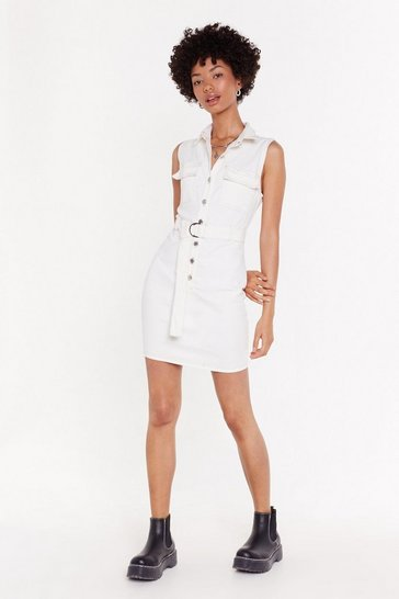 Womens White Don't Let Me Button-Down Denim Dress