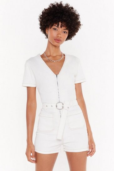 Womens White Belt Your Bottom Dollar Denim Zip Romper