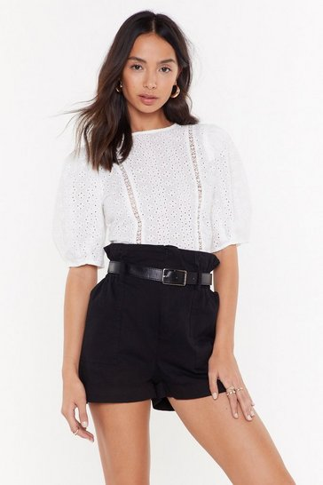 Womens White With Added Volume Broderie Blouse