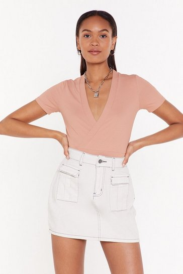 Womens Pink The Final Overlap Ribbed Wrap Top