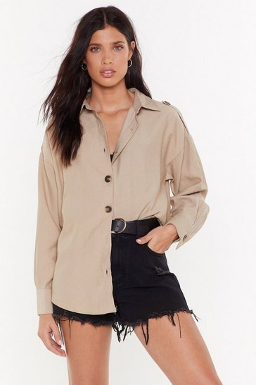 Womens Stone Oversized Shirt