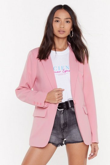 Womens Pink Mix Business with Pleasure Longline Blazer