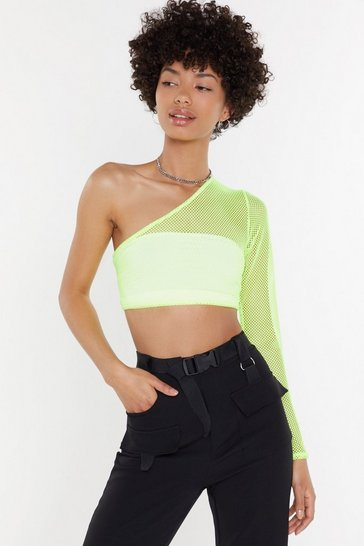Womens Neon-green Don't Net Mad Fishnet One Shoulder Top