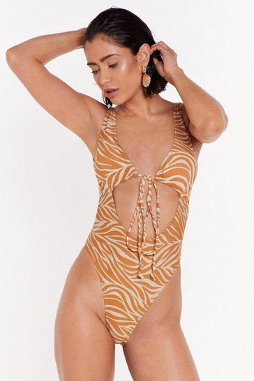 Womens Stone The Wild Life Zebra Cut-Out Swimsuit