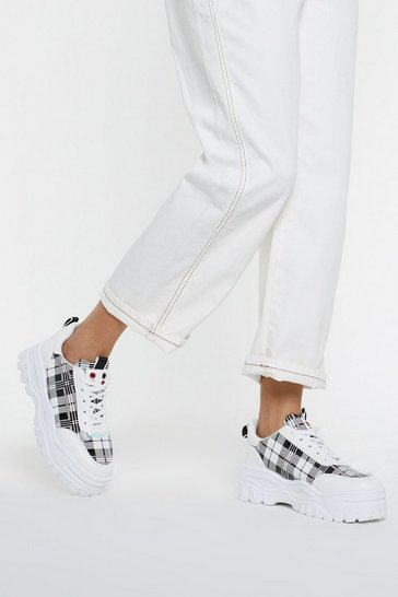 Womens White PU Patent Check Chunky Trainer