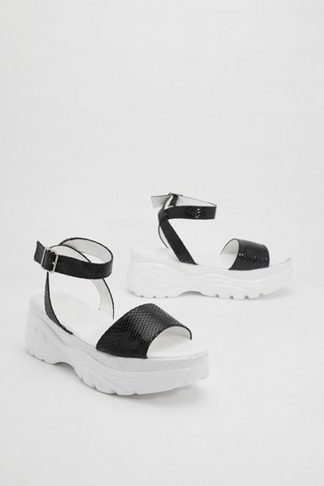 Womens Black If It Was Up to Me Chunky Sandals