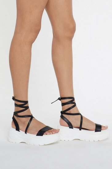 Womens Black Wrap It Up Platform Sandal