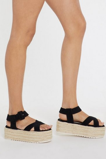 Womens Black Faux Suedes to Be Nice Espadrille Sandals