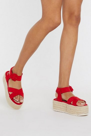 Womens Red Faux Suedes to Be Nice Espadrille Sandals