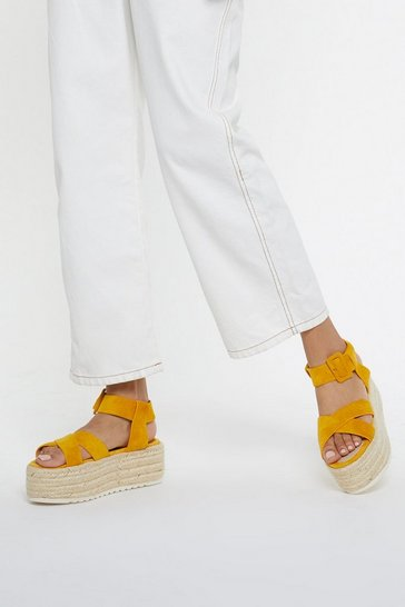 Womens Mustard Up Your Game Woven Platform Sandals