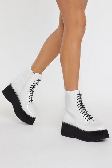Womens White Patent Platform Lace Up Boots