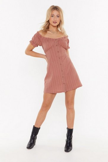 Womens Rose Button Through Sweetheart Mini Dress