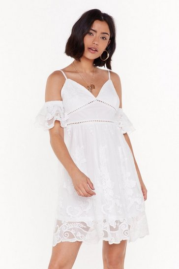 Womens White In My Happy Lace Cold Shoulder Mini Dress