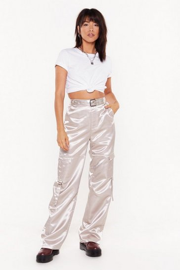 Womens Silver Slip Up Satin Cargo Trousers