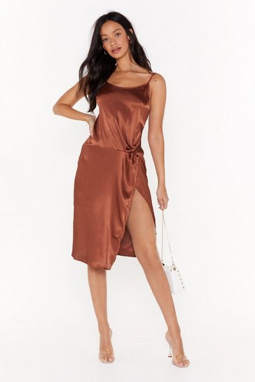 Womens Chocolate Smooth Talkin' Satin Midi Dress