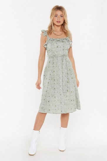 Womens Sage I Would Never Leaf You Ruffle Dress