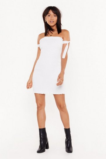 Womens White Tough to Tie Down Ruched Mini Dress