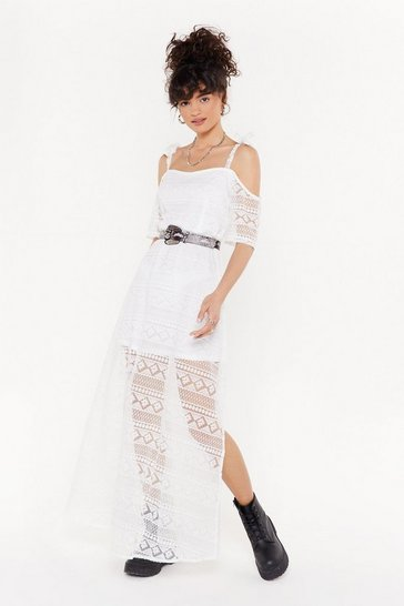 Womens White Giving You the Cold Shoulder Lace Maxi Dress