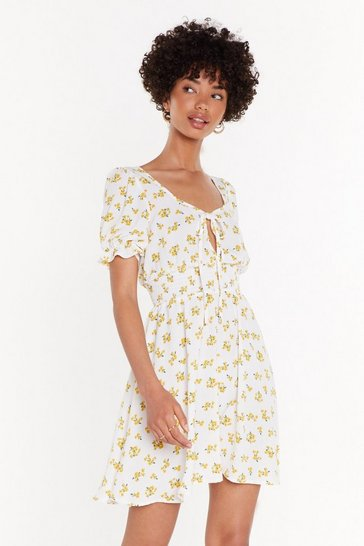 Womens White Be-Leaf in Yourself Floral Tie Dress