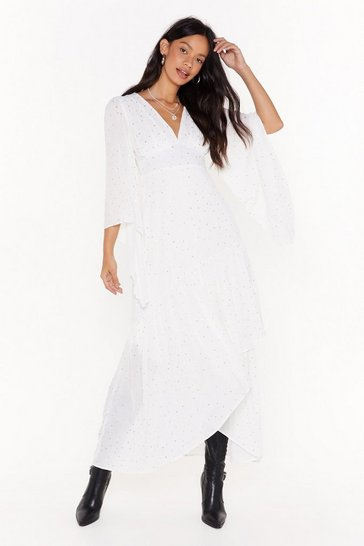 Womens White Too Star Gone Cape Maxi Dress