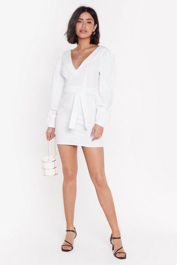 Womens White Sleeve It to Me Belted Mini Dress
