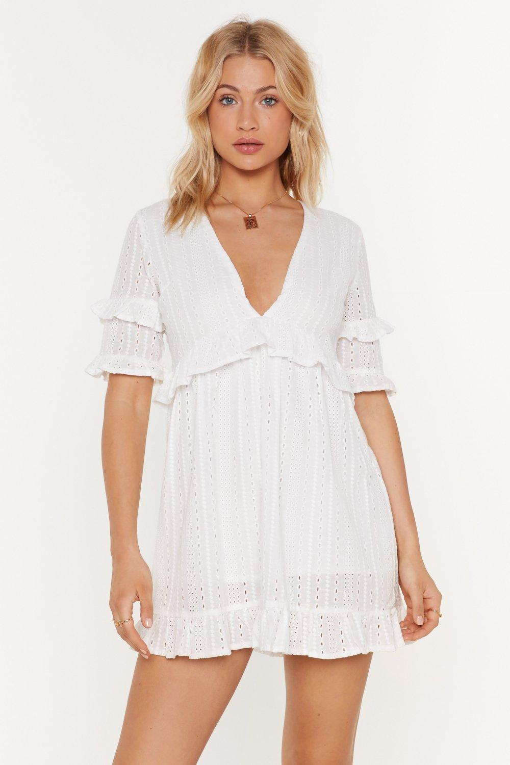 Broderie Ruffle Swing Mini Dress by Nasty Gal