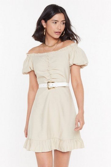 Womens Stone Summer in the City Off-the-Shoulder Puff Dress