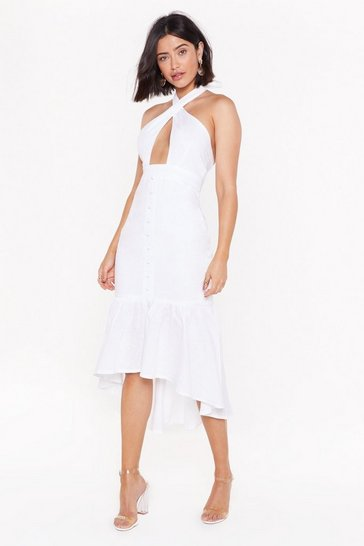 Womens White Halter 'Em Over Here Cut-Out Midi Dress