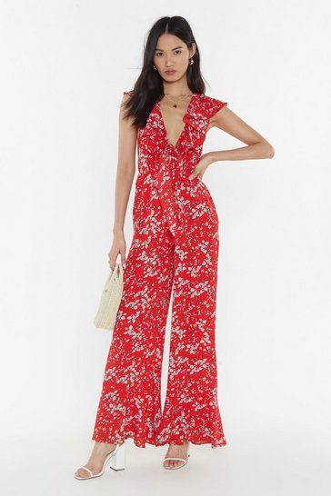 Womens Red Floral Tie Front Ruffle Hem Jumpsuit