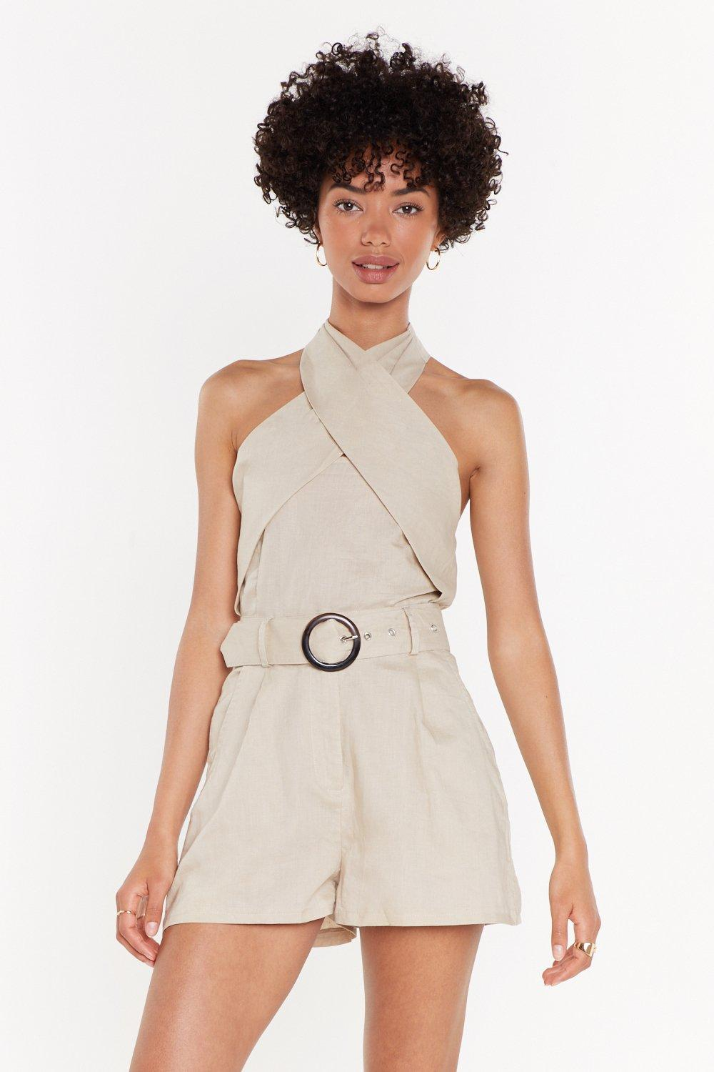 Don't Ring Me Down Paperbag Linen Shorts by Nasty Gal
