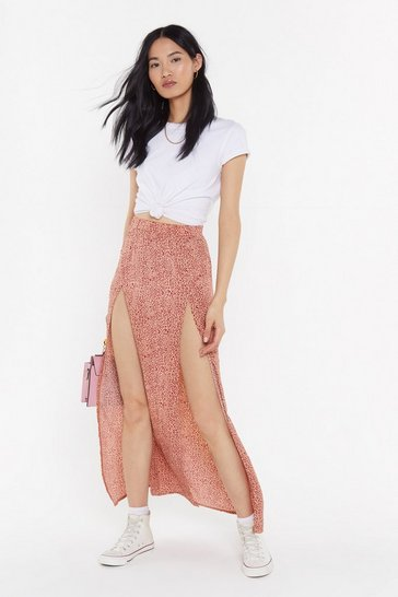 Womens Red Mini Animal Split Front Maxi Skirt
