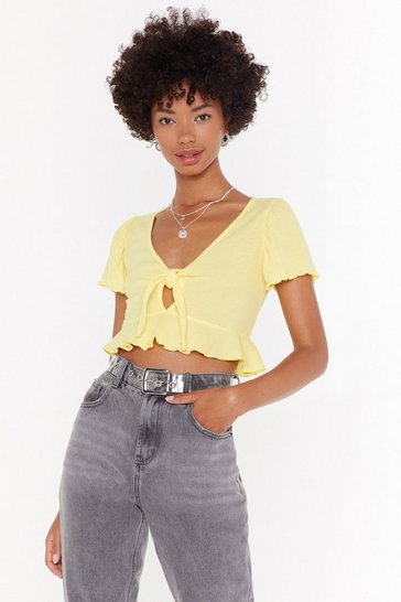 Womens Lemon I Can Sing a Ribbed Bow Crop Top