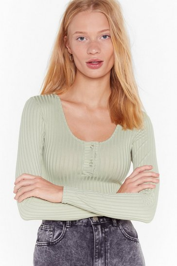 Womens Sage Ribbed Popper Bodysuit