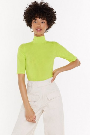 Womens Lime Ready to Roll Ribbed Turtleneck Bodysuit